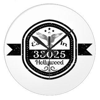 Established In 33025 Hollywood Large Clock