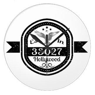 Established In 33027 Hollywood Large Clock