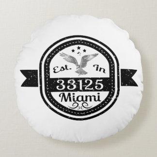 Established In 33125 Miami Round Pillow