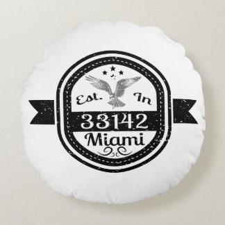 Established In 33142 Miami Round Pillow