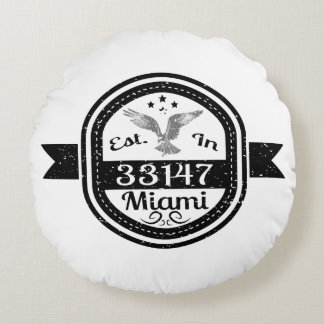 Established In 33147 Miami Round Pillow