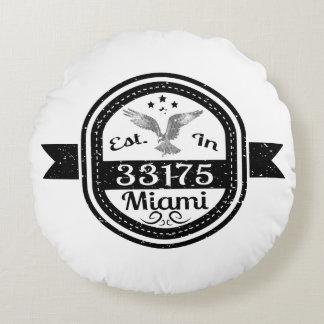 Established In 33175 Miami Round Pillow