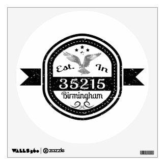 Established In 35215 Birmingham Wall Sticker