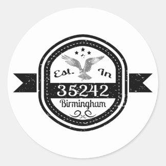 Established In 35242 Birmingham Classic Round Sticker