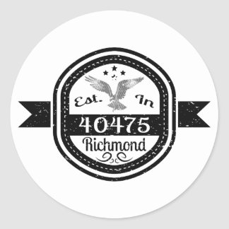 Established In 40475 Richmond Round Sticker