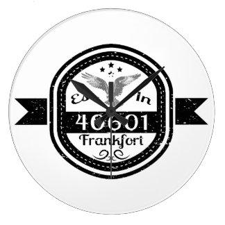Established In 40601 Frankfort Large Clock