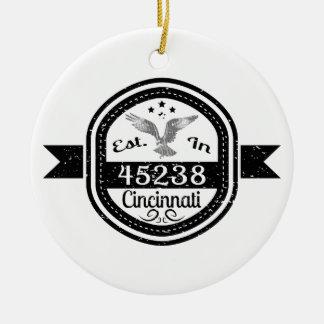 Established In 45238 Cincinnati Ceramic Ornament
