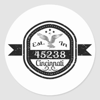 Established In 45238 Cincinnati Classic Round Sticker