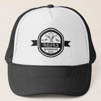 Established In 46143 Greenwood Trucker Hat