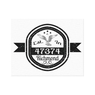 Established In 47374 Richmond Canvas Print
