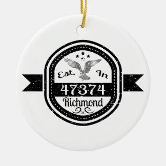 Established In 47374 Richmond Ceramic Ornament