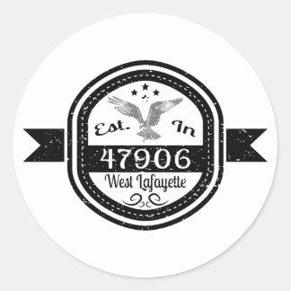 Established In 47906 West Lafayette Classic Round Sticker