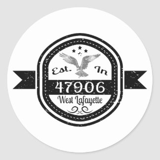 Established In 47906 West Lafayette Round Sticker