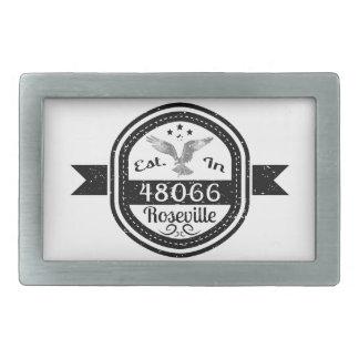 Established In 48066 Roseville Rectangular Belt Buckle