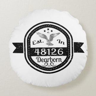 Established In 48126 Dearborn Round Pillow