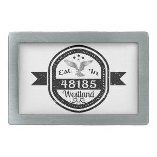 Established In 48185 Westland Rectangular Belt Buckle