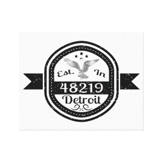 Established In 48219 Detroit Canvas Print