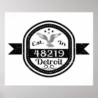 Established In 48219 Detroit Poster
