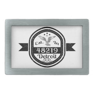 Established In 48219 Detroit Rectangular Belt Buckles
