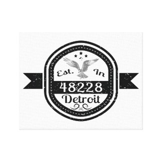 Established In 48228 Detroit Canvas Print