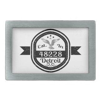 Established In 48228 Detroit Rectangular Belt Buckles