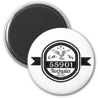 Established In 55901 Rochester 2 Inch Round Magnet