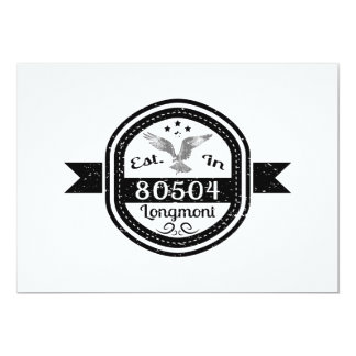 "Established In 80504 Longmont 5"" X 7"" Invitation Card"
