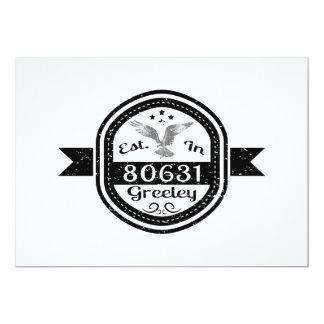 "Established In 80631 Greeley 5"" X 7"" Invitation Card"
