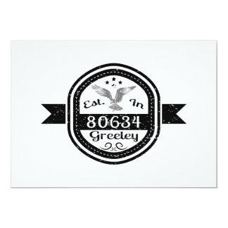 "Established In 80634 Greeley 5"" X 7"" Invitation Card"