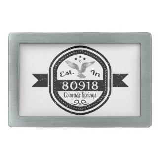 Established In 80918 Colorado Springs Rectangular Belt Buckles