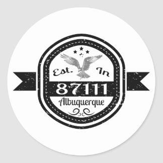 Established In 87111 Albuquerque Classic Round Sticker