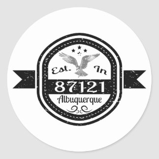 Established In 87121 Albuquerque Classic Round Sticker