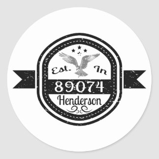 Established In 89074 Henderson Classic Round Sticker