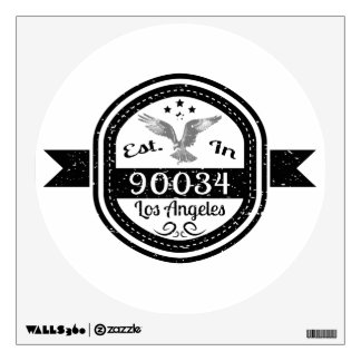 Established In 90034 Los Angeles Wall Decal