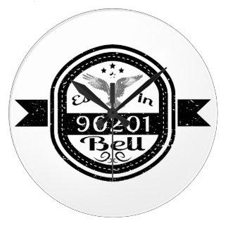Established In 90201 Bell Large Clock