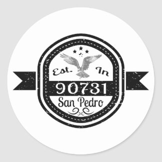 Established In 90731 San Pedro Classic Round Sticker