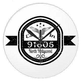 Established In 91605 North Hollywood Large Clock