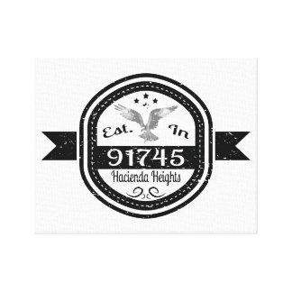 Established In 91745 Hacienda Heights Canvas Print