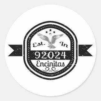 Established In 92024 Encinitas Classic Round Sticker