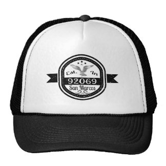 Established In 92069 San Marcos Trucker Hat