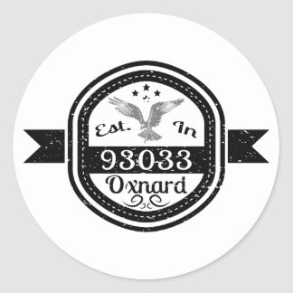 Established In 93033 Oxnard Round Sticker