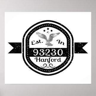 Established In 93230 Hanford Poster
