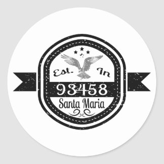 Established In 93458 Santa Maria Classic Round Sticker