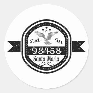 Established In 93458 Santa Maria Round Sticker