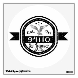 Established In 94110 San Francisco Wall Decal