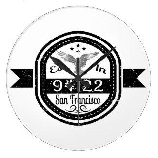Established In 94122 San Francisco Large Clock