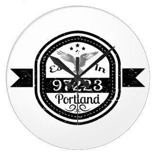 Established In 97223 Portland Large Clock