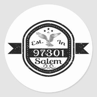 Established In 97301 Salem Classic Round Sticker