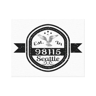 Established In 98115 Seattle Canvas Print