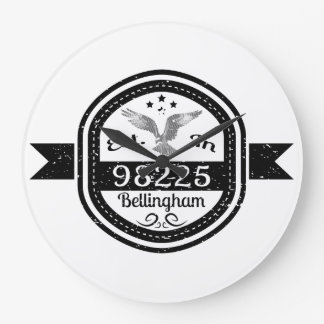 Established In 98225 Bellingham Large Clock